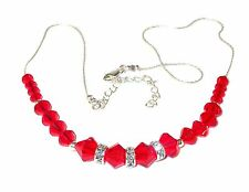 Bright LIGHT SIAM RED Crystal Necklace Sterling Silver Swarovski Elements