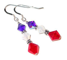 Patriotic RED WHITE BLUE Crystal Earrings Sterling Silver Swarovski Earrings