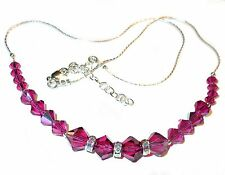 SWAROVSKI CRYSTAL Elements Sterling Silver Deep Pink Necklace FUCHSIA