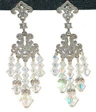 SWAROVSKI Elements CRYSTAL Chandelier Earrings Bridal Prom CLEAR AB or Any Color