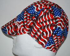 NWT Welding Cap Welders Hat Comeaux Caps STARS AND STRIPES Reversible 2000 Sized