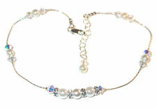 WHITE Pearl & CLEAR AB Crystal Anklet Bride's Sterling Silver Swarovski Elements