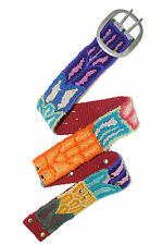 FAIR TRADE HAND MADE Jenny Krauss Wool Embroidered Belts Brights On RED S M L