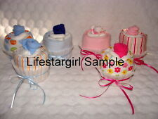 Onesie, Diaper & Baby Socks Cupcakes!! Cute Baby Shower Gift or Decorations!