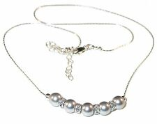 LIGHT GREY Pearl Necklace Bridal Sterling Swarovski Elements Silver Pearls Gray