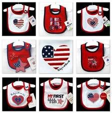 NWT~CARTERS~PATRIOTIC~July FOURTH/4th BABY/INFANT Bibs Boys+Girls~NEWBORN+REBORN