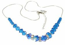 CAPRI BLUE Crystal NECKLACE Sterling Silver Handcrafted Swarovski Elements