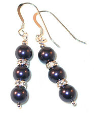 DARK PURPLE Pearl Earrings Swarovski Crystal Elements Sterling Silver Dangle