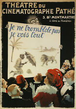 Pathe Movie Lion Man Umbrella French Theater Show Vintage Poster Repro FREE S/H