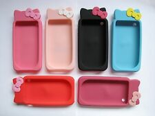 ★★★ CUTE KITTY CAT BEAR BOWKNOT RUBBER SILICONE CASE COVER ★★★ IPHONE 3 3GS ★★★