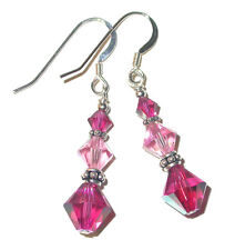 2-Tone PINK Fuchsia Crystal Earrings Bali Sterling Silver Swarovski Elements
