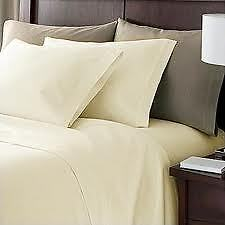 Sale 1000TC 100%Egyptian Cotton UK Bedding Collection Solid Ivory All UK Sizes