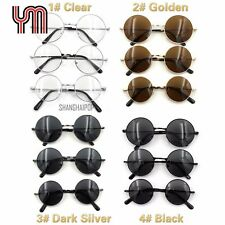 Dark Lens Sunglasses 60's Round Frame Shades Sunnies Vintage Retro Clear Glasses
