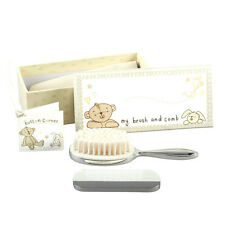 Personalised Button Corner Brush & Comb Christening or Baby Gift Set Engraved