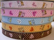 """5/8"""" 5 YARDS LE SOCRE BUNNY GROSGRAIN RIBBON - 5 COLORS AVAILABLE"""