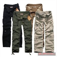 NEW MENS ARMY CARGO LOOSE FIT DESIGNER MILITARY COTTON PANTS SIZE 30 32 34 36