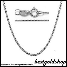 0.45mm 14K WHITE GOLD Classic Square Box Chain Necklace with Spring Ring Clasp