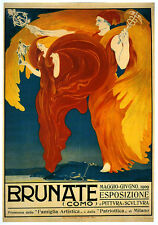 Brunate 1909 Art Exposition Italian Girls Italy Vintage Poster Repro FREE S/H