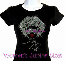 Lady with Afro - SILVER - Rhinestone Iron on T-Shirt - Pick Size S-3XL - Bling