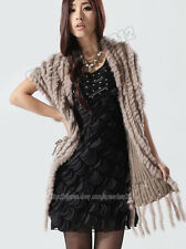 100% Real Knitted Rabbit Fur Stole Cape Shawl Wraps Scarfs Coat  Fashion