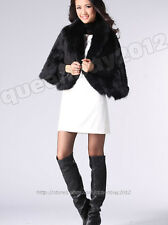 100% Real Knitted Mink Fur Fox Collar Cape Stole Coat Shawl Scarf Fashion Party