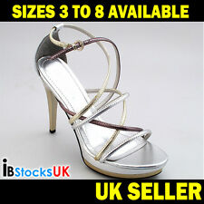 Ladies Womens High Heels Sandals Summer Fashion Shoes Size 3 4 5 6 7 8 Silver
