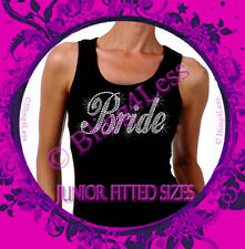 Bride - Large - Iron on Rhinestone Ribbed Tank Top - Pick Size S-3XL - Bridal