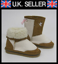 Brown Beige Stone  Boots  LED Flashing Lights Girls Boys   sizes 7 8 9 19  SNUGG