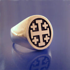 Jerusalem Cross / Crusaders Cross Ring - Solid Sterling - Size 8 to 13