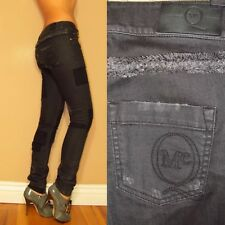 $666 Alexander McQueen Italy Skinny Mid Rise Embroid Black Distress Jeans 26 NWT