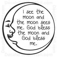 I See the Moon God Bless Wall Decal Vinyl Art Sticker Quote Decor Decoration B70
