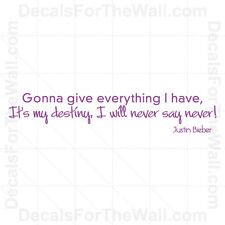 Justin Bieber Never Say Never Girl Wall Decal Vinyl Art Sticker Quote Saying B68