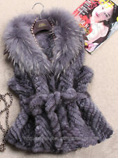 100% Real Knitted Mink Fur Vest Gilet Coat Jacket Huge Raccoon Collar Fashion