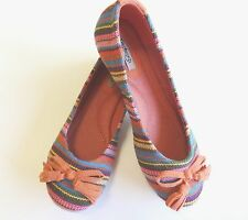 Orange with Multi-Colored Stripes Casual Dress Ballet Flat Shoes Sizes 5.5-10 US