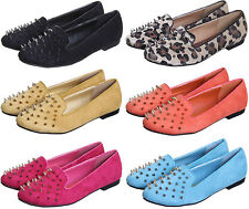 WOMEN'S/LADIES SPIKE STUDDED CASUAL LOAFERS MOCCASINS PUMP SHOES IN UK SIZES 3-8