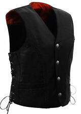 Mens Naked Cow Braided Leather Vest Buffalo Nickel Snaps Dual Inside Gun Pockets