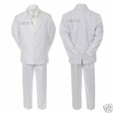 New Boy Wedding Baptism Communion White Tuxedo Suit S M L XL 2T 3T 4T 5 6 7 8-20