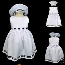 New Baby Girl & Toddler Easter Formal Sailor Dress Outfits sz S,M,L,XL,2T,3T,4T