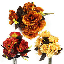 12 Head LARGE Rose Bouquet!  Buy 2 Get 1 FREE! Artificial Silk Flowers 3 Colours