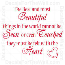 The Best and Most Beautiful Things in the World Heart Vinyl Wall Art Decal IN77