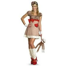 Womens Adult Sexy Deluxe Sock Monkey Costume Dress W/ Monkey Tail