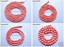 Pink Natural Coral Gemstone Round Ball Spacer Beads 16'' 3mm 4mm 5mm 6mm 8mm