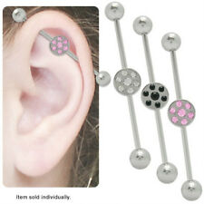 Industrial Piercing Barbell 14G with Round Jeweled Design
