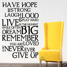 HAVE HOPE -INSPIRATIONAL WALL STICKER QUOTE ART DECAL- LIVE LAUGH