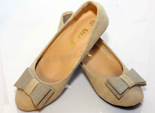 Womens Comfort Bowed Ballet Flats Casual Shoes (Beige)