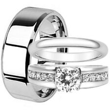 His Hers 3 Piece Men's Women's Stainless Steel Wedding Engagement Ring Band Set