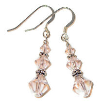 Nude SILK Crystal Earrings Bali Sterling Silver Dangle Swarovski Elements