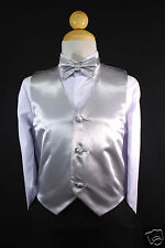 Satin SILVER Vest + Bow Tie set  Infant,Toddler & Boy Formal Tuxedo Suit S-28
