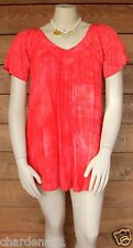 NEW PLUS SIZE V NECK CRINKLE TIE DYE TOP SHIRT BLOUSE FLOWING