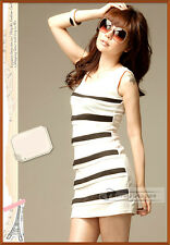 New Fashion Level Lines Stripe Vest Holiday Style Dress 2 Colors